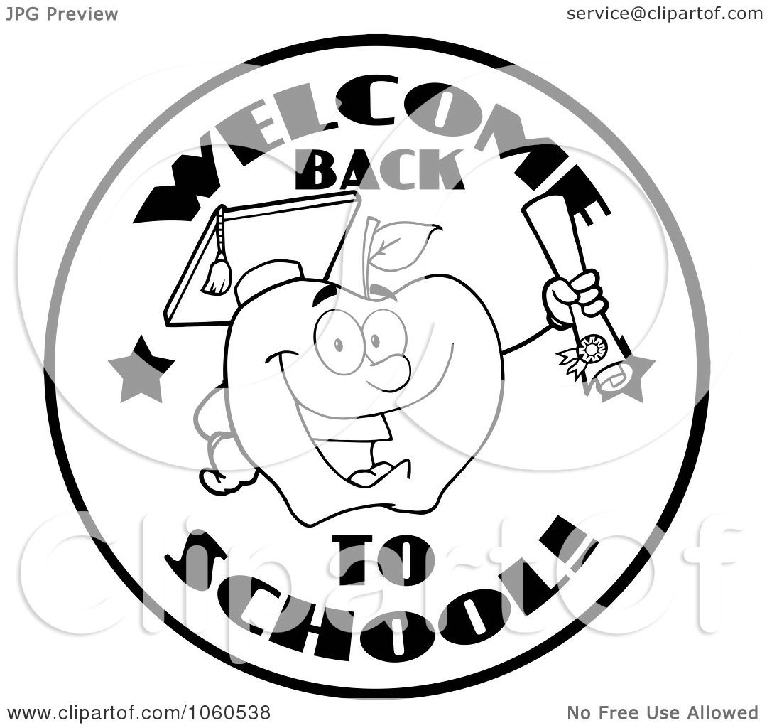 Royalty Free Vector Clip Art Illustration Of A Black And White Welcome Back To School Circle And