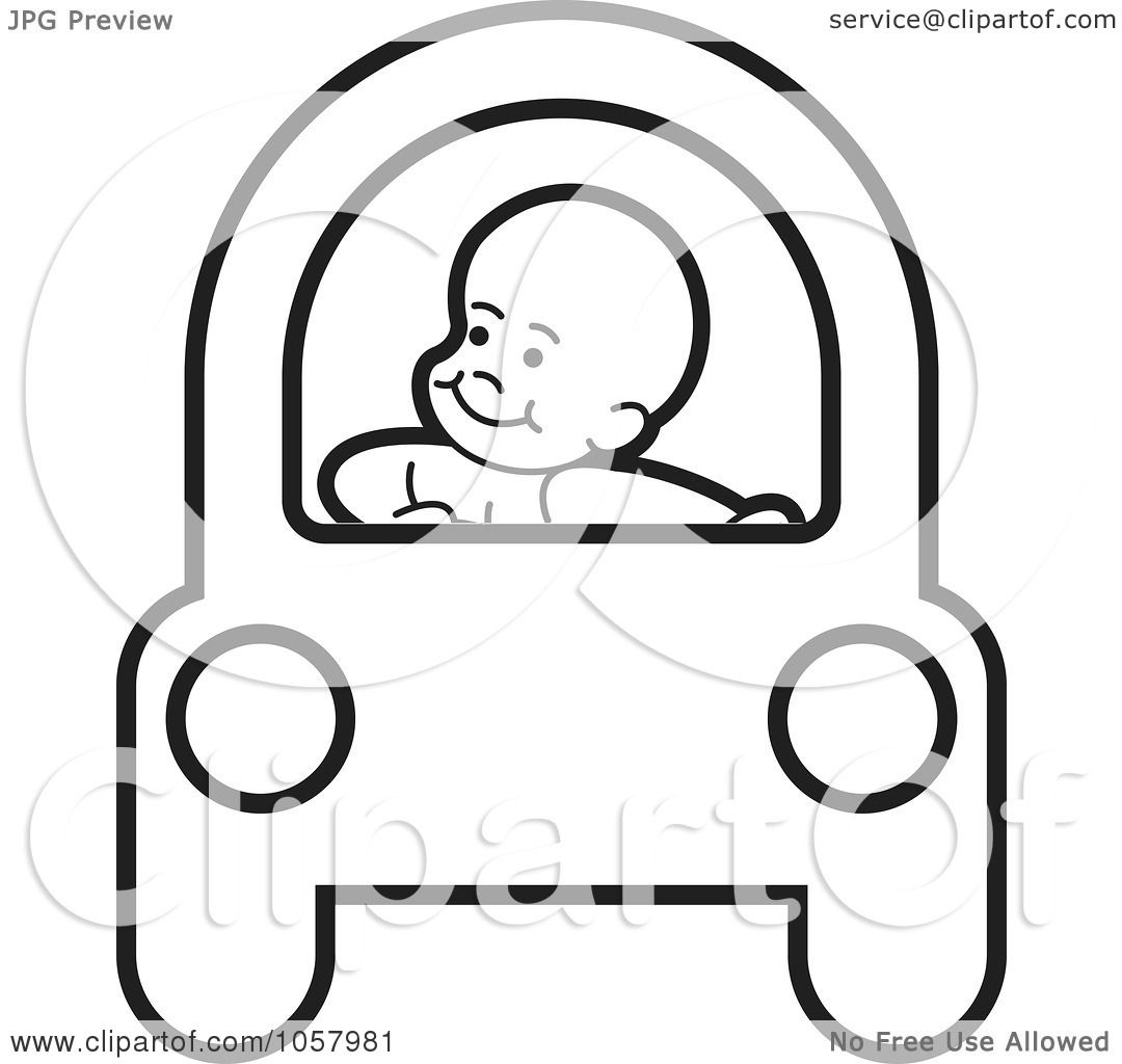 Royalty Free Vector Clip Art Illustration Of A Coloring Page Outline Of A Baby Driving A Car By