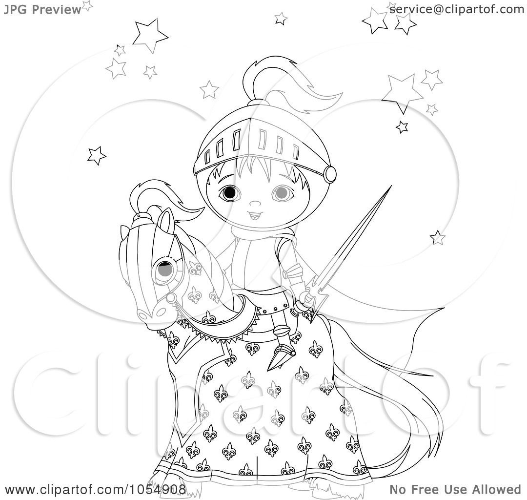 Royalty Free Vector Clip Art Illustration Of A Coloring Page Outline Of A Knight On A Horse By