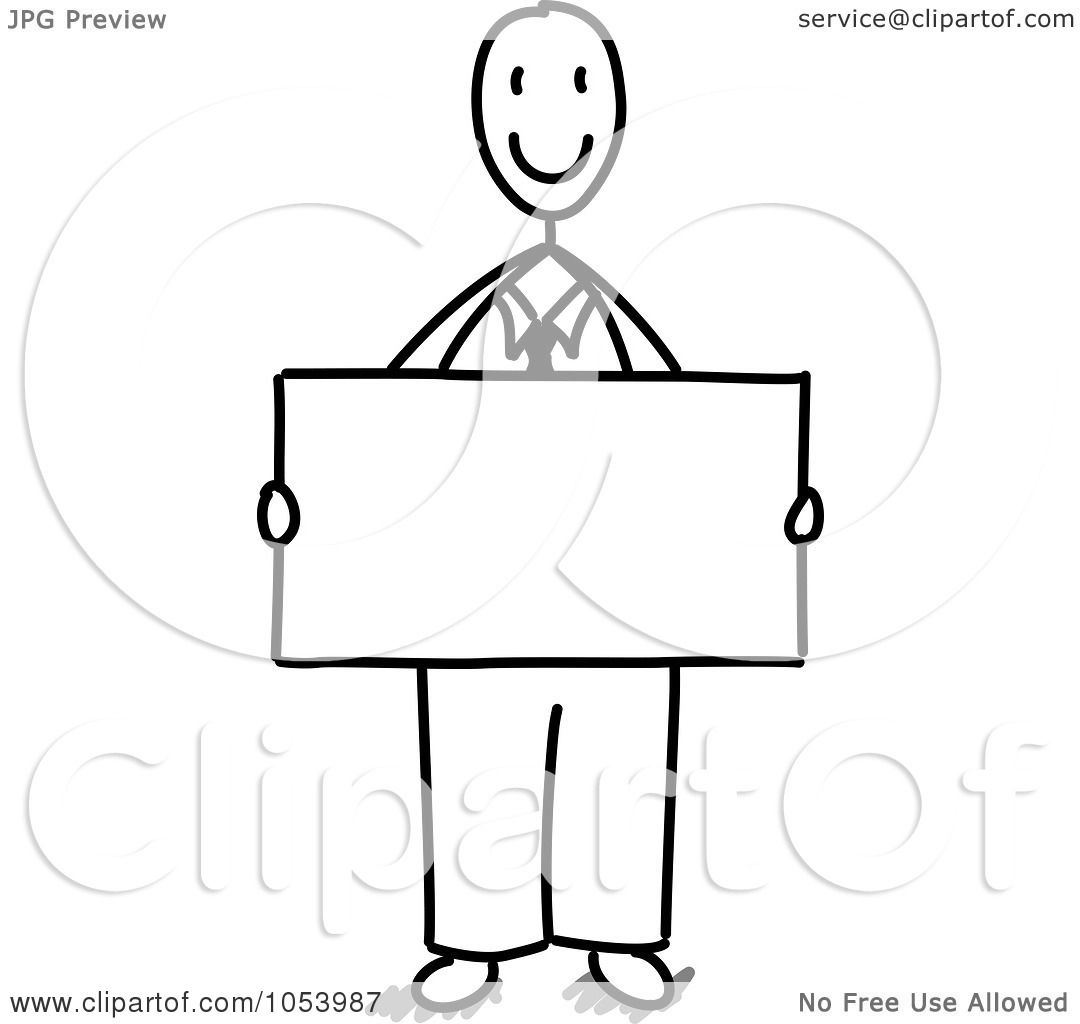 Royalty Free Vector Clip Art Illustration Of A Stick Businessman Holding A Blank Sign By Frog974