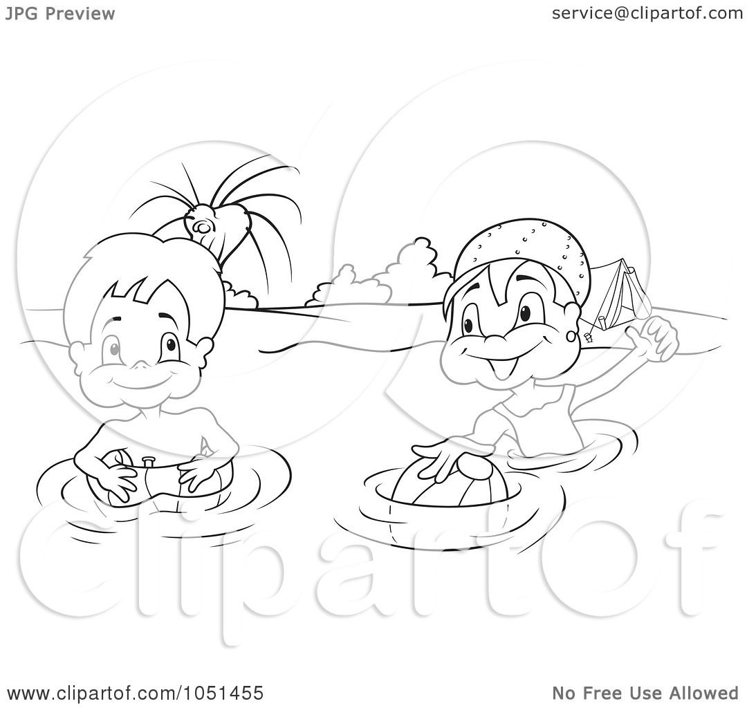 Royalty Free Kids Swimming Clip Art Black And White