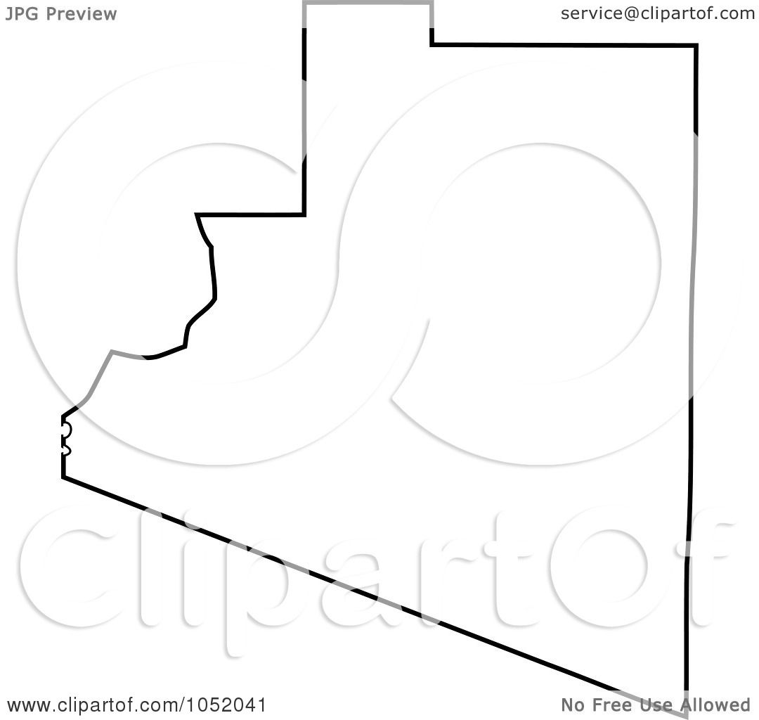 Royalty Free Vector Clipart Illustration Of A Black Outline Of Yuma County Arizona United