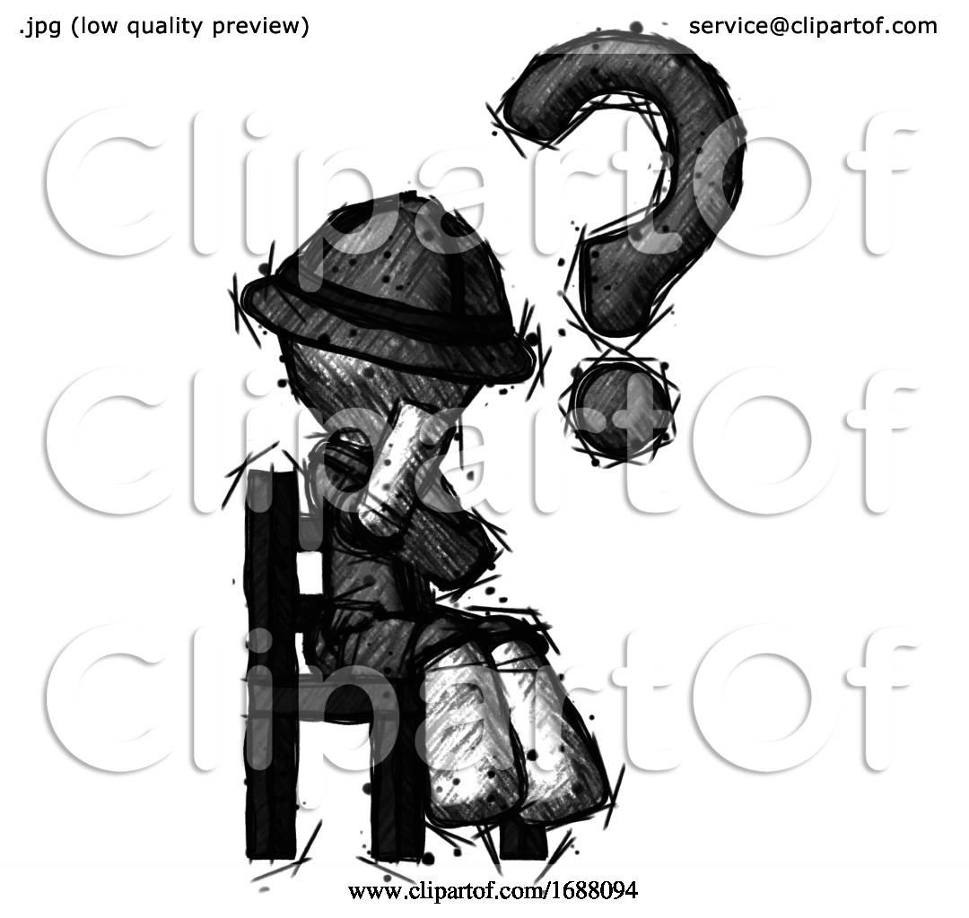 Sketch Explorer Ranger Man Question Mark Concept Sitting