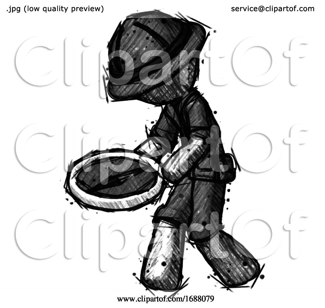 Sketch Explorer Ranger Man Walking With Large Compass By