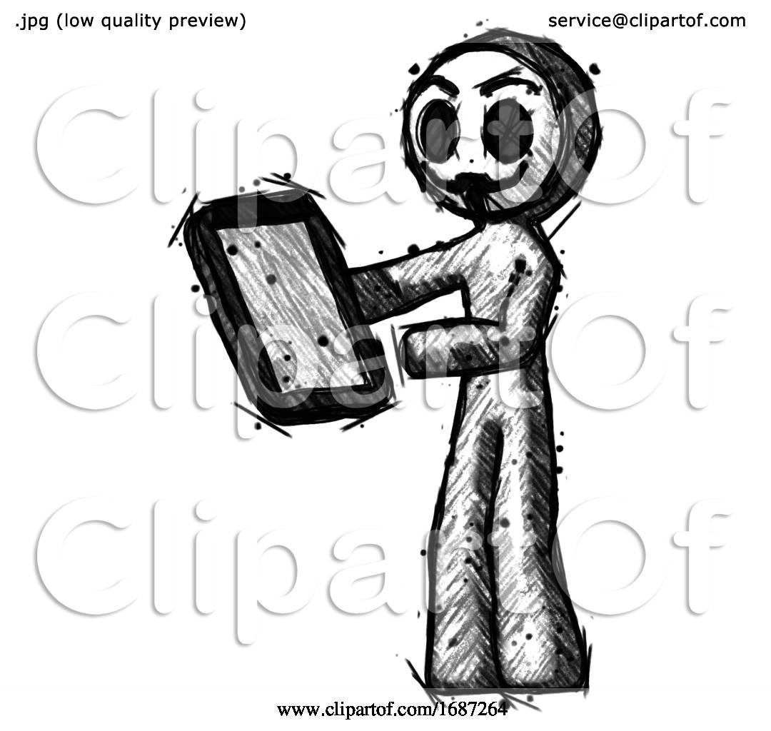Sketch Little Anarchist Hacker Man Reviewing Stuff On