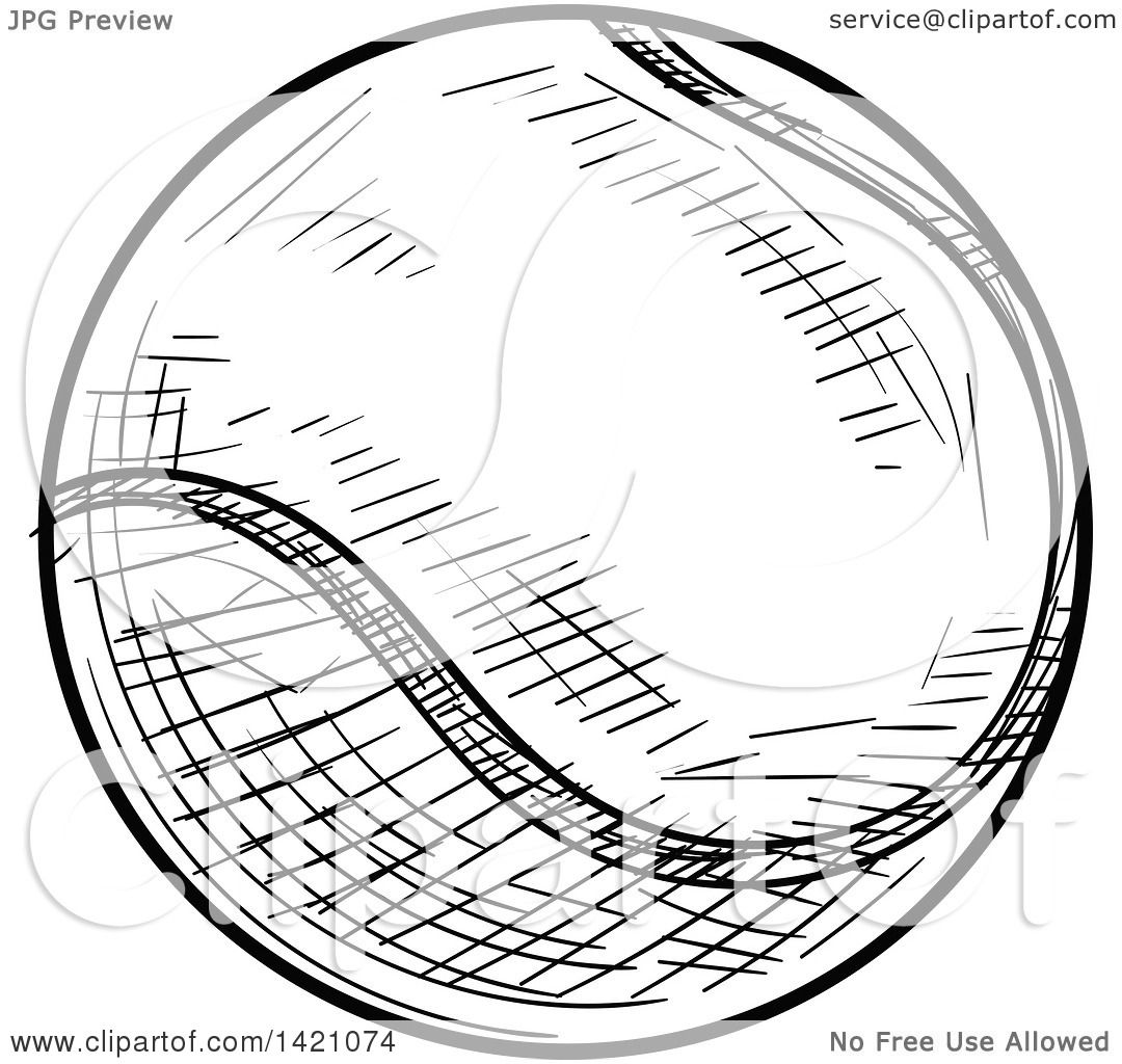 Sports Clipart Of A Black And White Sketched Tennis Ball