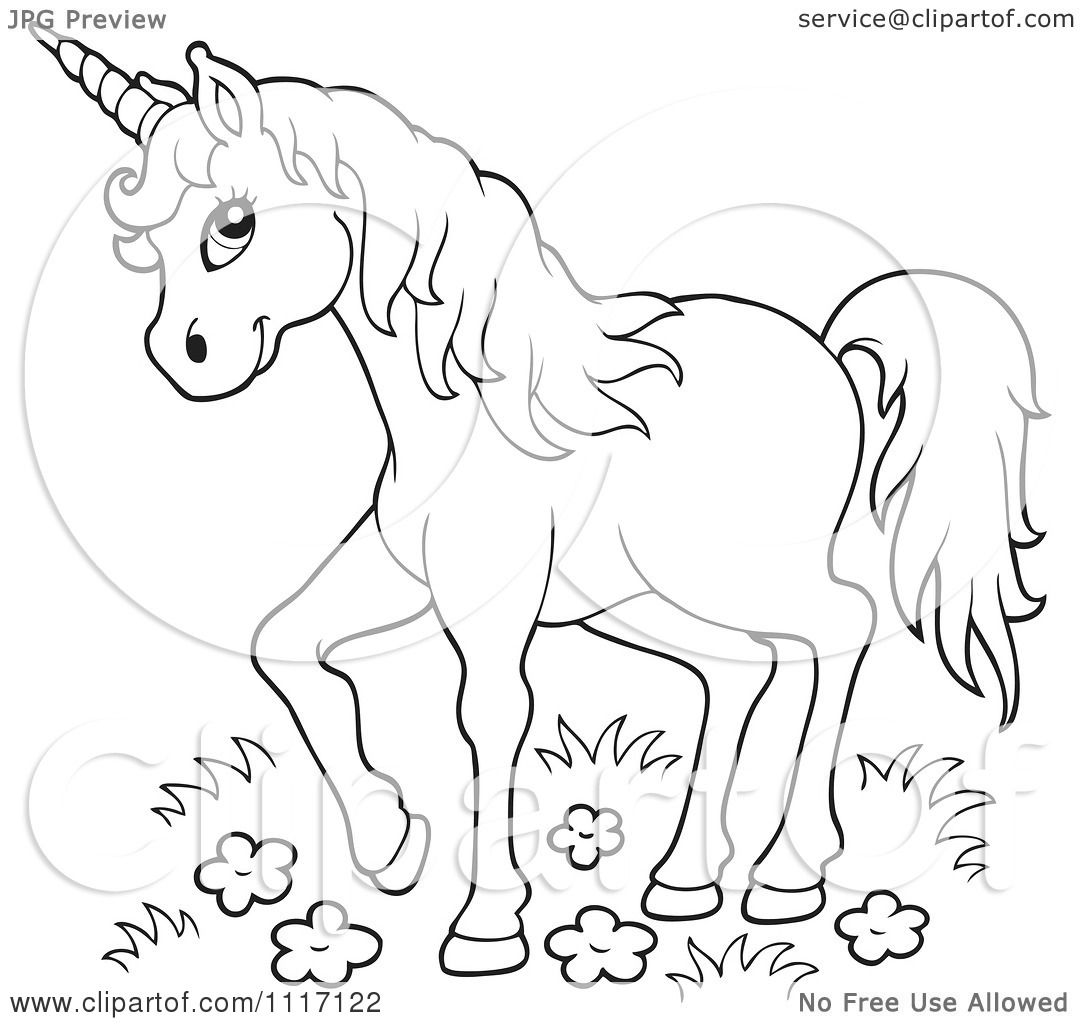 Vector Cartoon Of An Outlined Unicorn In Wild Flowers And