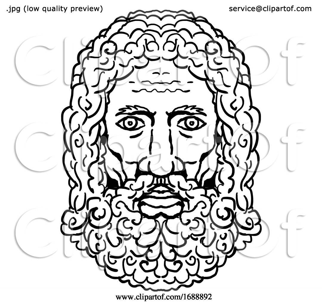 Zeus Greek God Head Portrait Cartoon Retro Drawing By