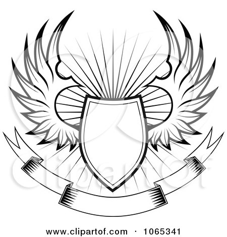 Clipart Shield With Wings 4 Royalty Free Vector