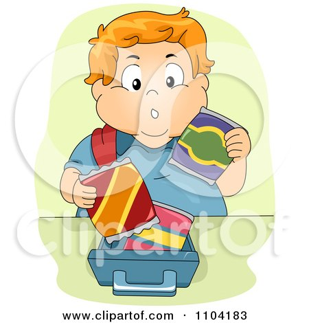 Clipart Overweight Brunette Boy Eating Ice Cream And A Hot