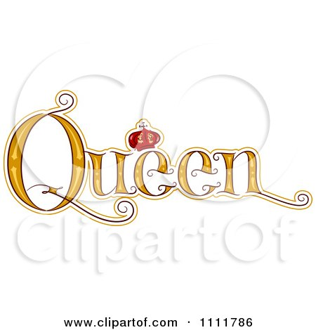 Clipart The Stylized Word QUEEN With A Crown - Royalty ...