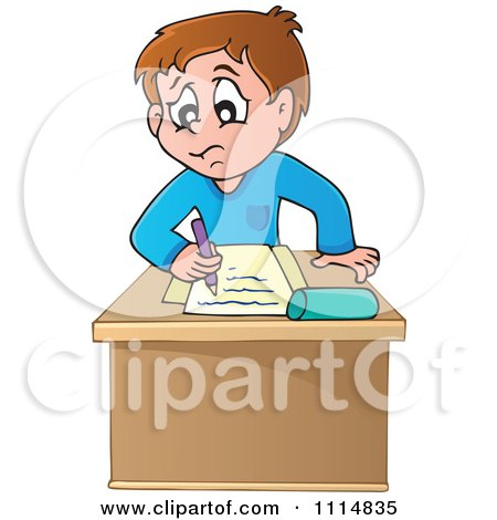 Clipart Stressed School Boy Writing At His Desk - Royalty Free Vector Illustration by visekart