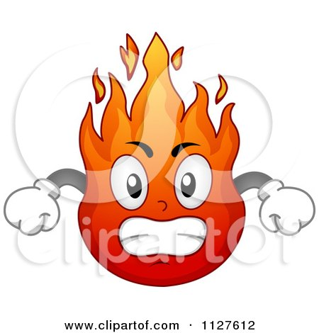 Cartoon Of An Angry Flame Mascot Royalty Free Vector