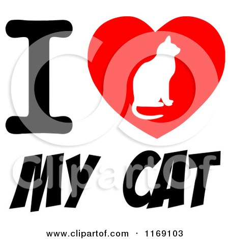 Download Cartoon of a Cat Silhouette on a Heart with I Love My Cat ...