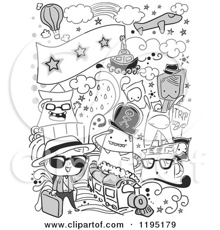Cartoon Of Black And White Travel Doodles Royalty Free