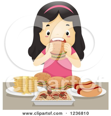 Clipart of a Hungry Asian Girl Binge Eating on Junk Food - Royalty Free Vector Illustration by BNP Design Studio