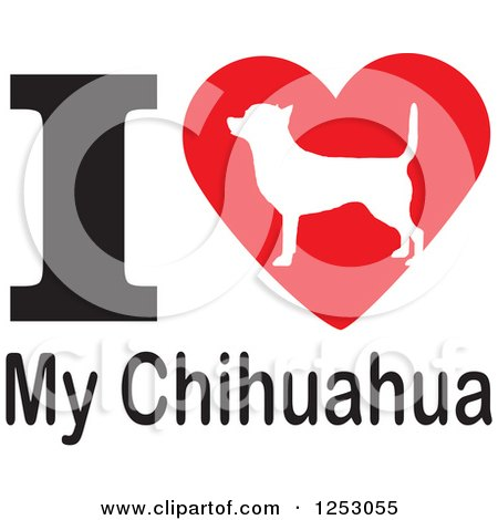 Download Clipart of an I Heart My Chihuahua Dog Design - Royalty ...