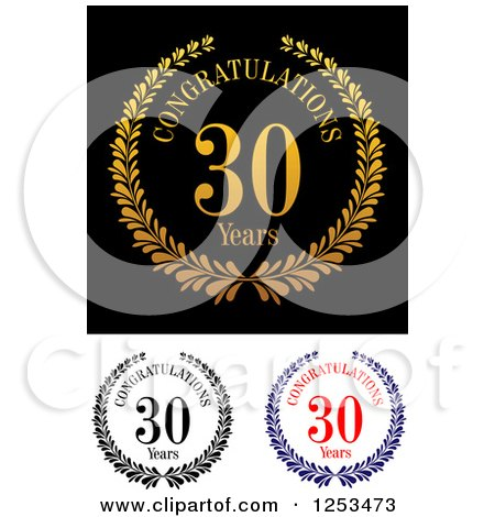 Download Clipart of Congratulations 30 Year Anniversary Designs ...