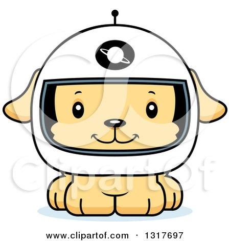 Animal Clipart of a Cartoon Cute Happy Puppy Dog Astronaut ...