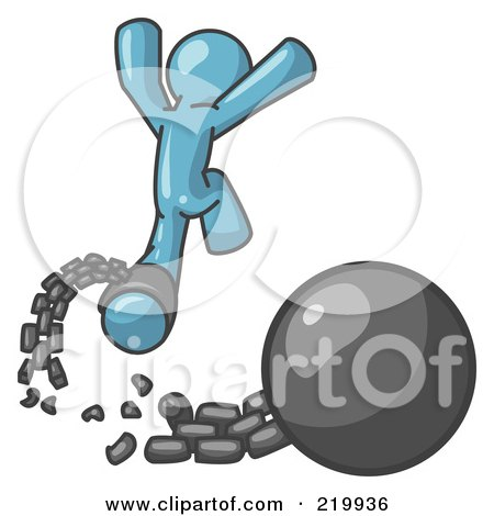 Royalty-Free (RF) Clipart Illustration of a Denim Blue Man Jumping For Joy While Breaking Away From a Ball and Chain, Symbolizing Freedom From Debt Or Divorce by Leo Blanchette