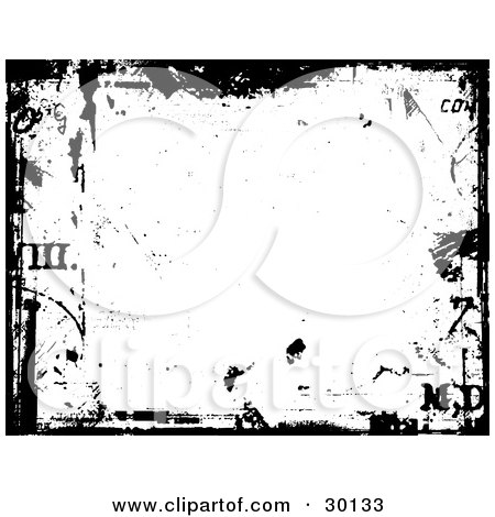 grunge background with scuffs, bordered in black with roman numerals.