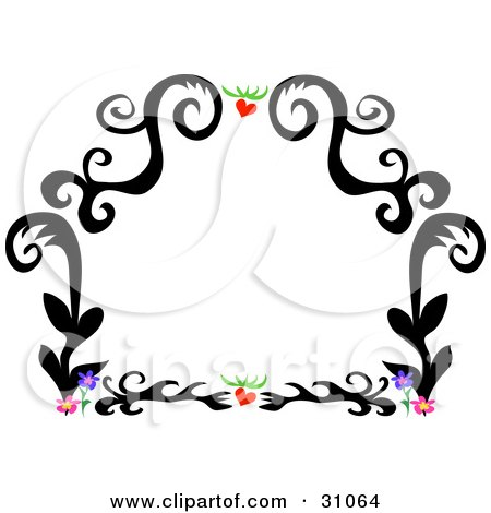 Tags: tattoo drawings, hearts. Royalty-free clipart picture of a black