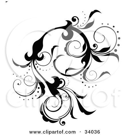 Royalty-free clipart picture of a black scrolling vine with flowers and