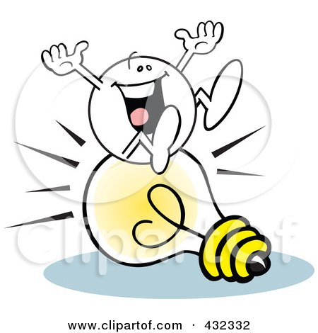 Royalty-Free (RF) Clipart Illustration of a Moodie Character Sitting Happy On An Idea Light Bulb by Johnny Sajem