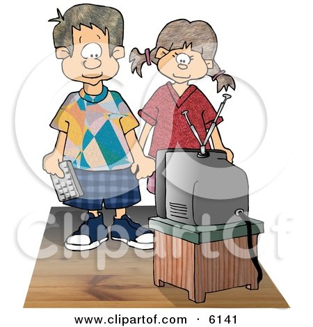 Brother and Sister Watching Tv Together Clipart Picture