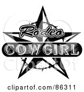 Royalty Free RF Clipart Illustration Of A Black And White Vintage Styled Rodeo Cowgirl Star With Barbed Wire by Andy Nortnik