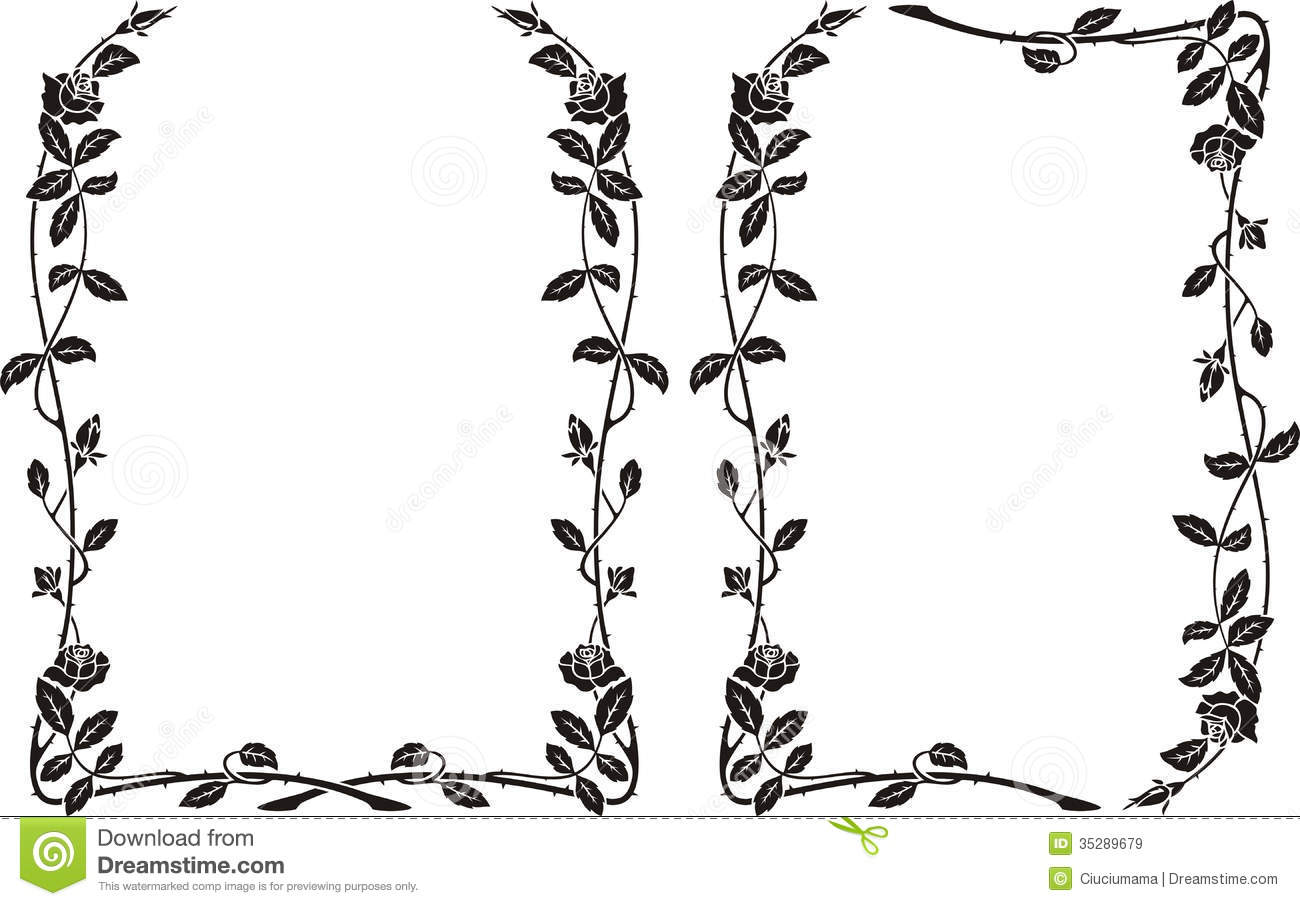 Knumathise Rose Border Clipart Black And White Images