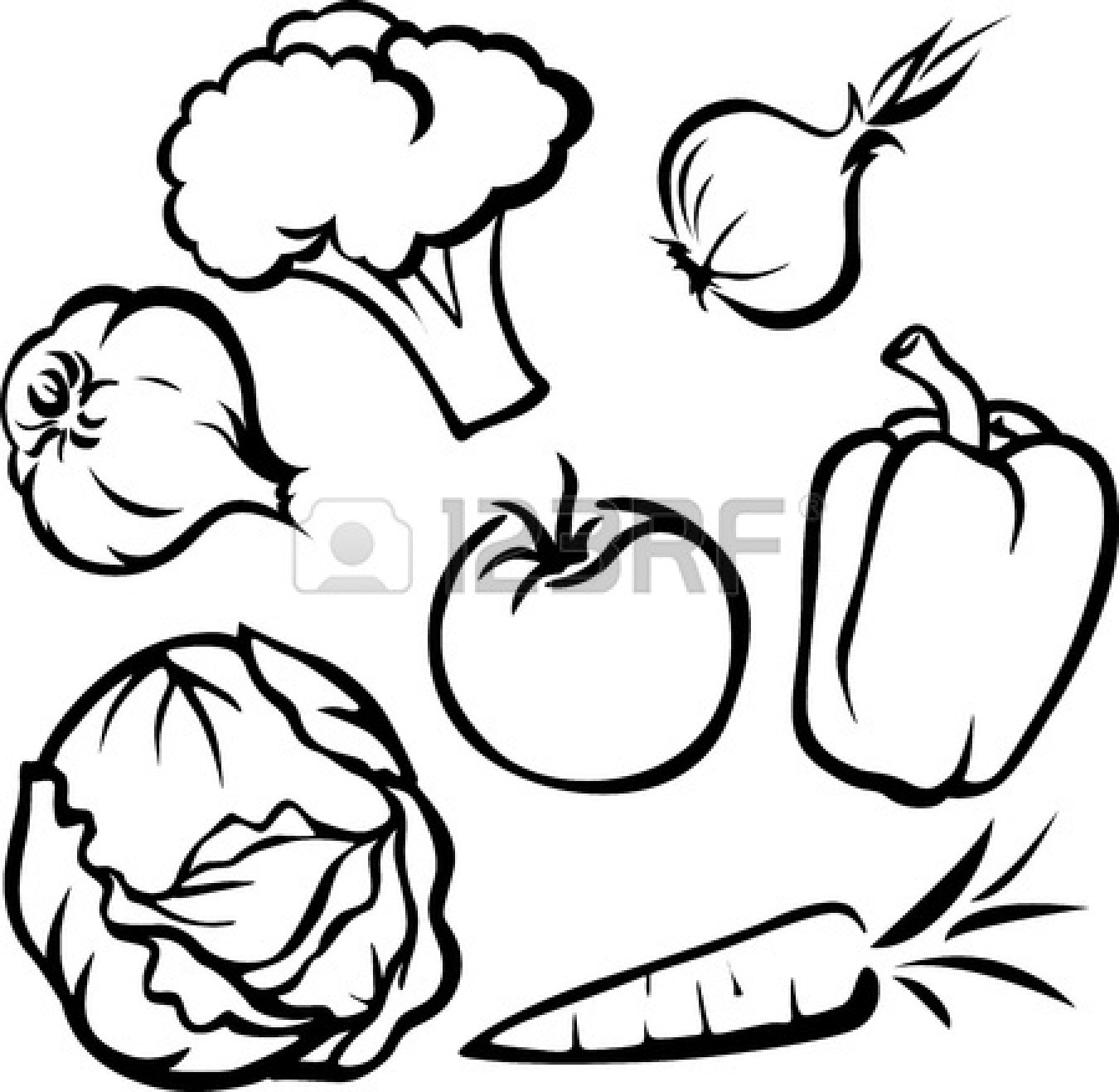 Vegetables Clipart Black And White Border