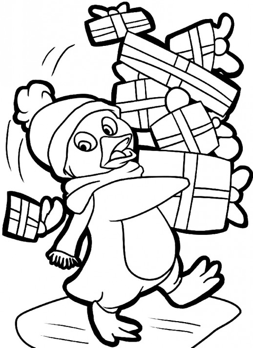 Christmas Penguin Coloring Pages Clipart Panda Free