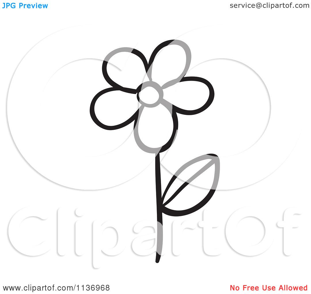 Flower Stem Clipart Black And White Clipart Panda