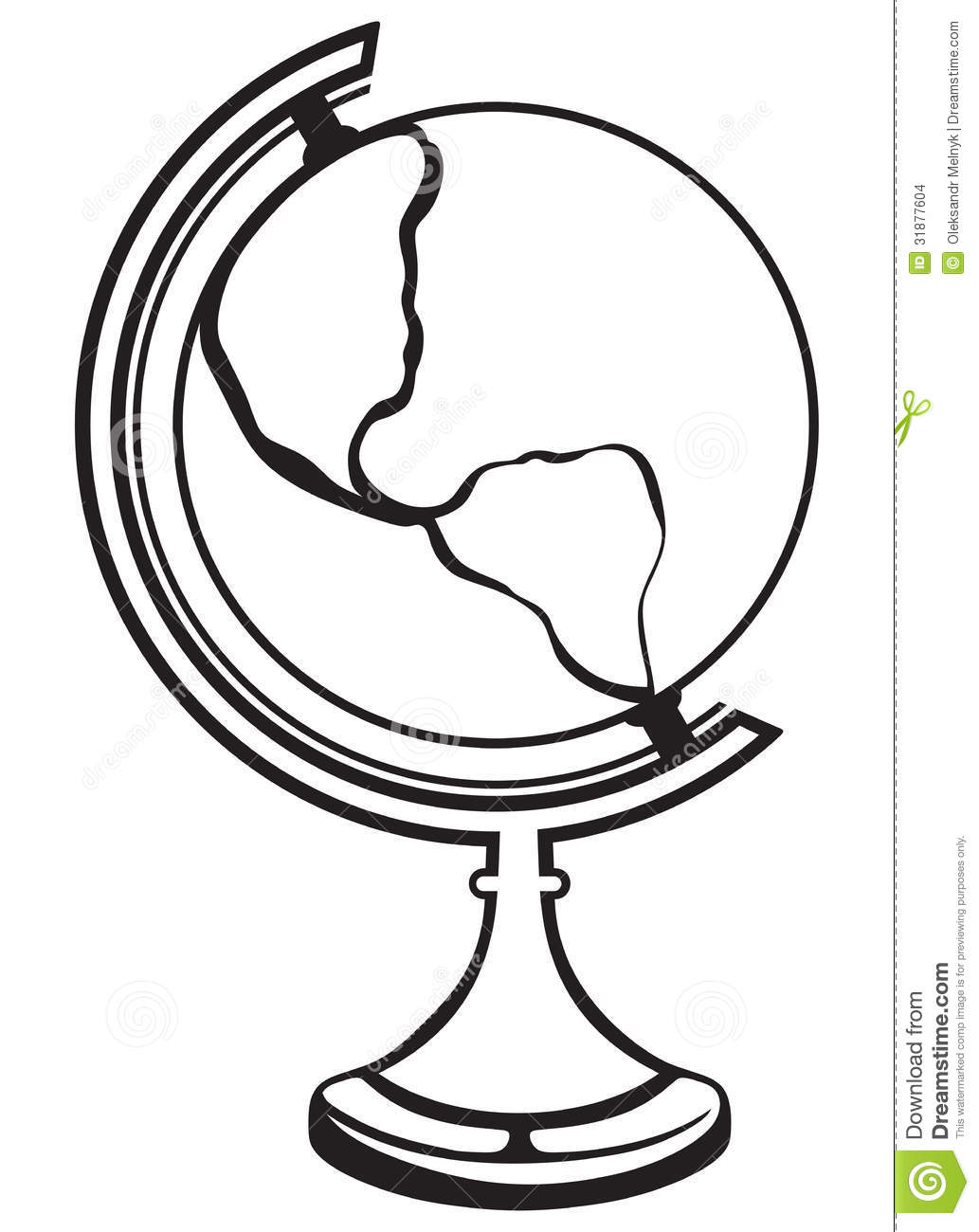 Globe Black And White Outline Clipart Panda