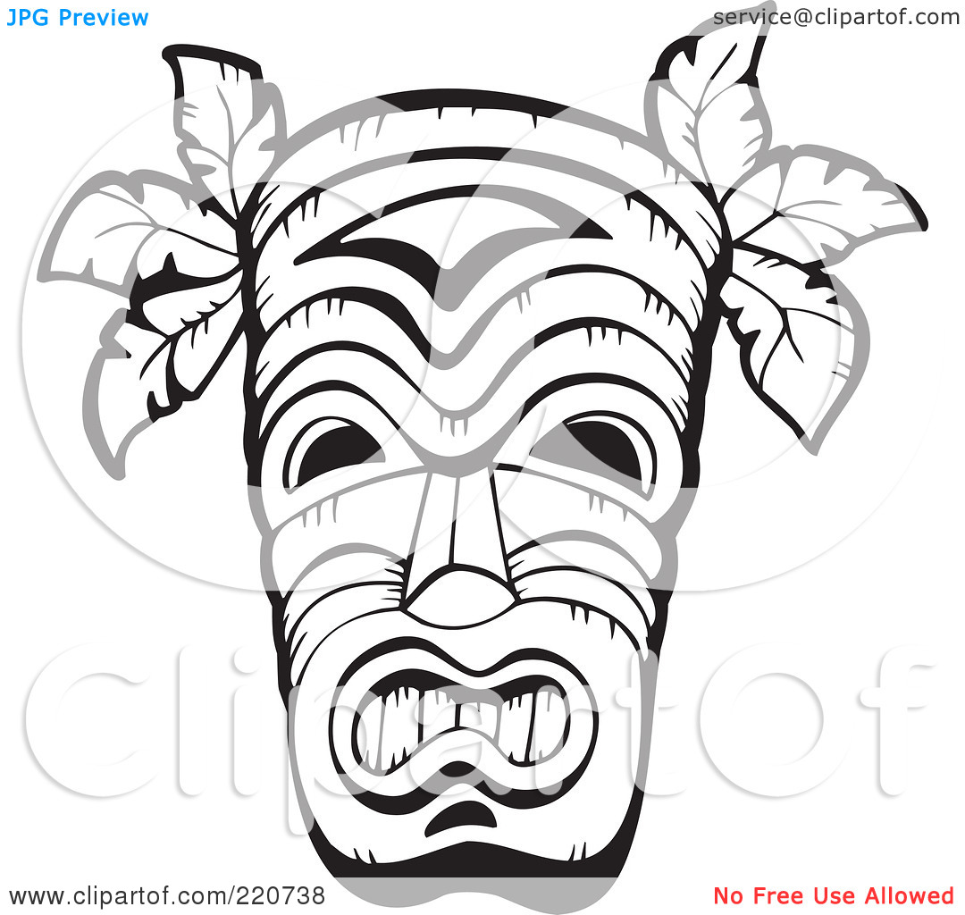 Hawaiian Clip Art Black And White Tiki