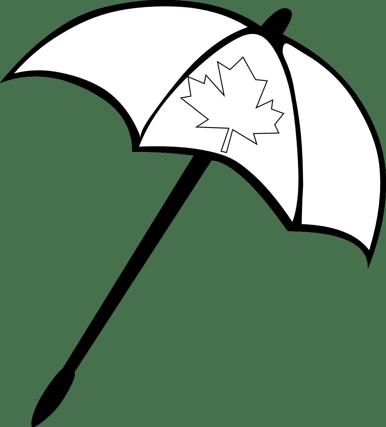 Beach Umbrella Clipart Black And White