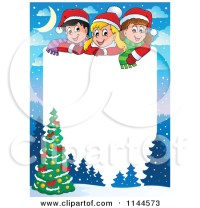 Christmas Tree Clip Art Borders Merry And Happy New Year