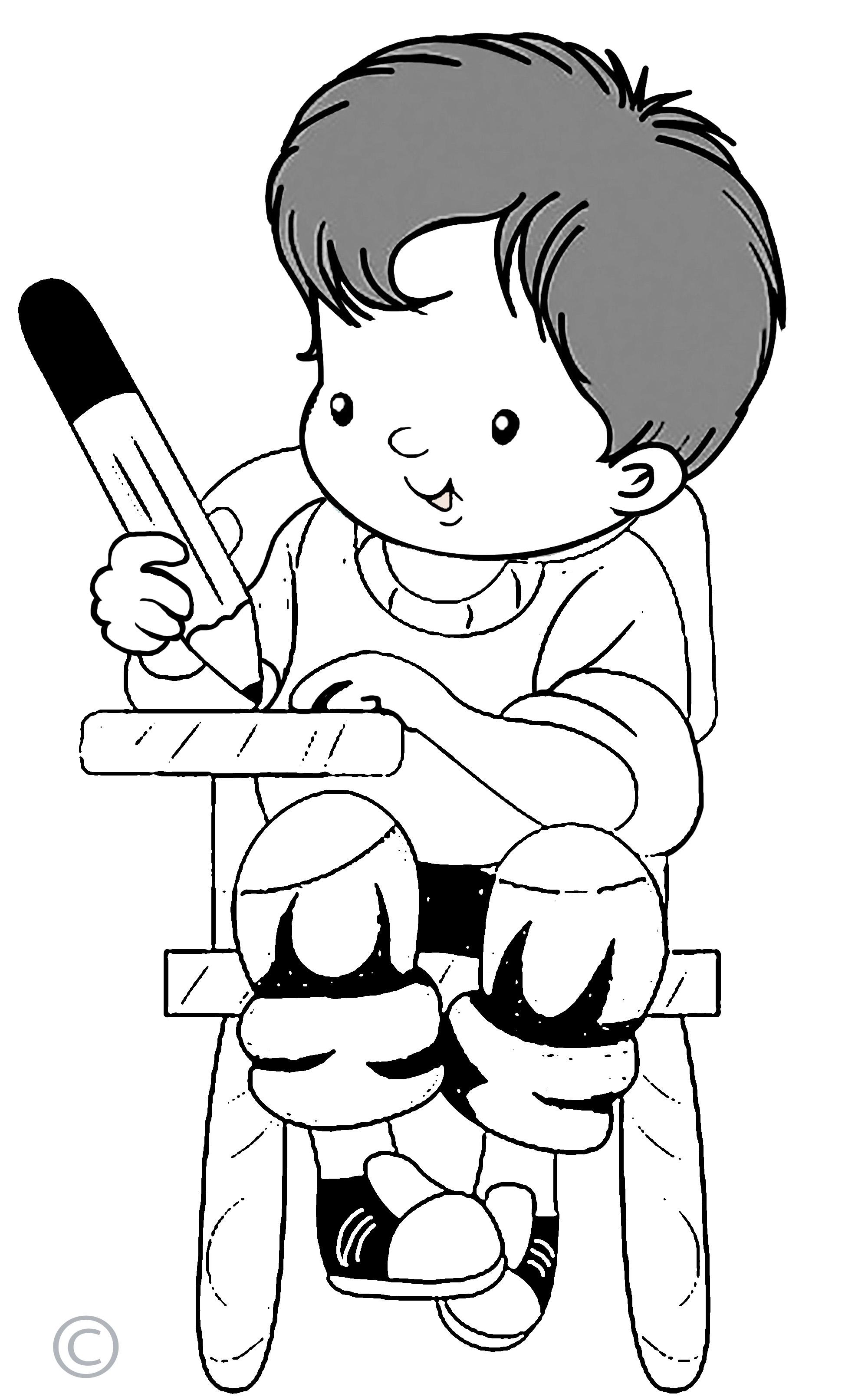 Kids Writing Clip Art Black And White