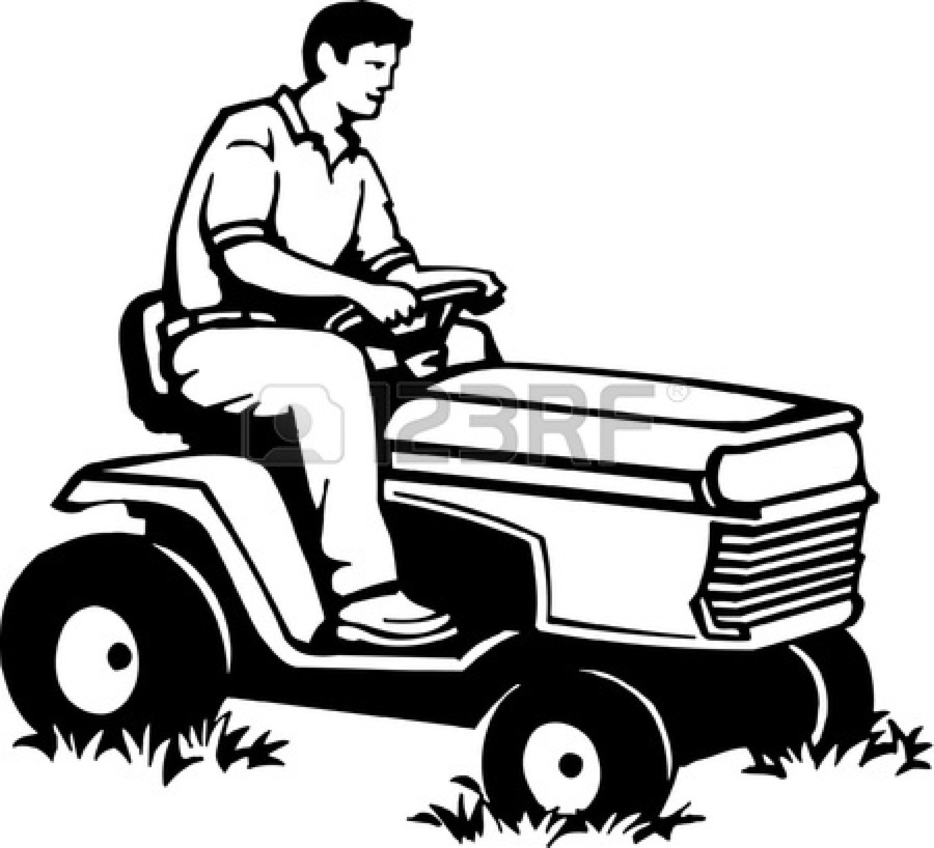 riding lawn mower clip art black and white