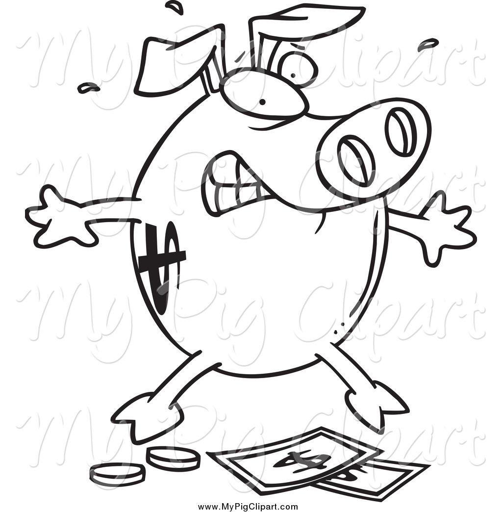 Piggy Bank Clipart Black And White Clipart Panda