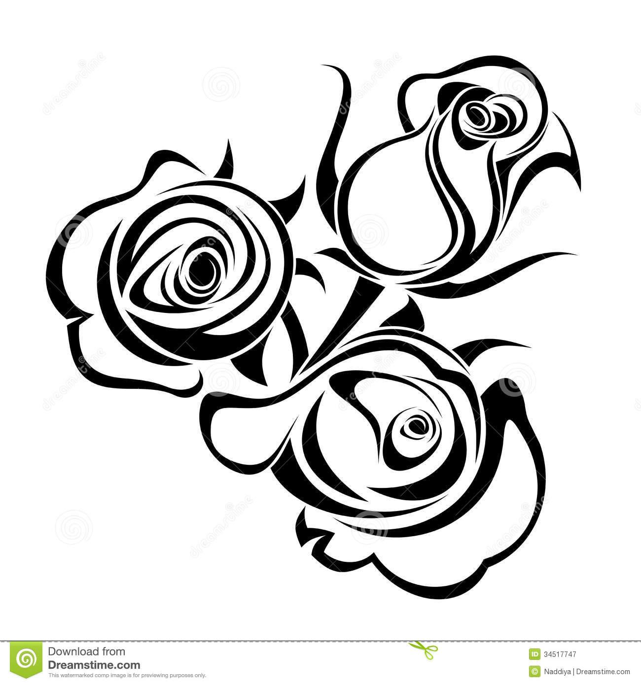 Black And White Rose Border Clip Art