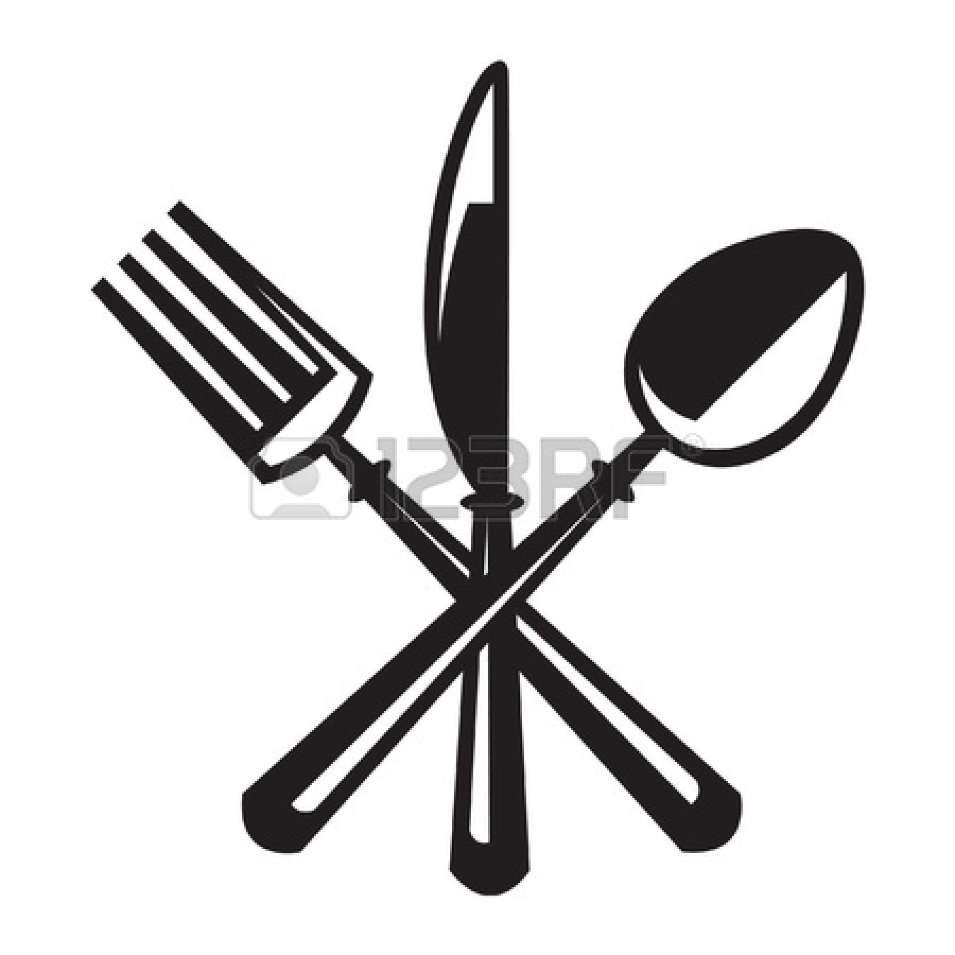 Spoon And Fork Crossed Clipart Panda