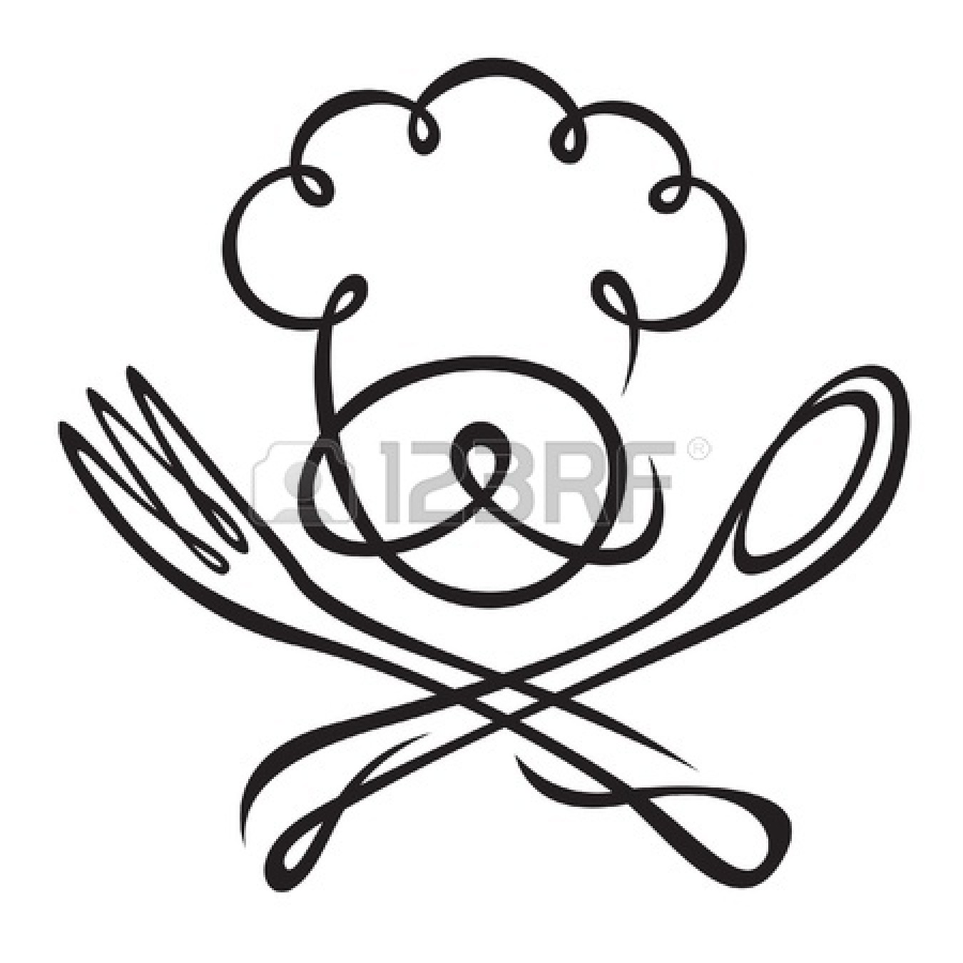 Spoon And Fork Drawing Clipart Panda