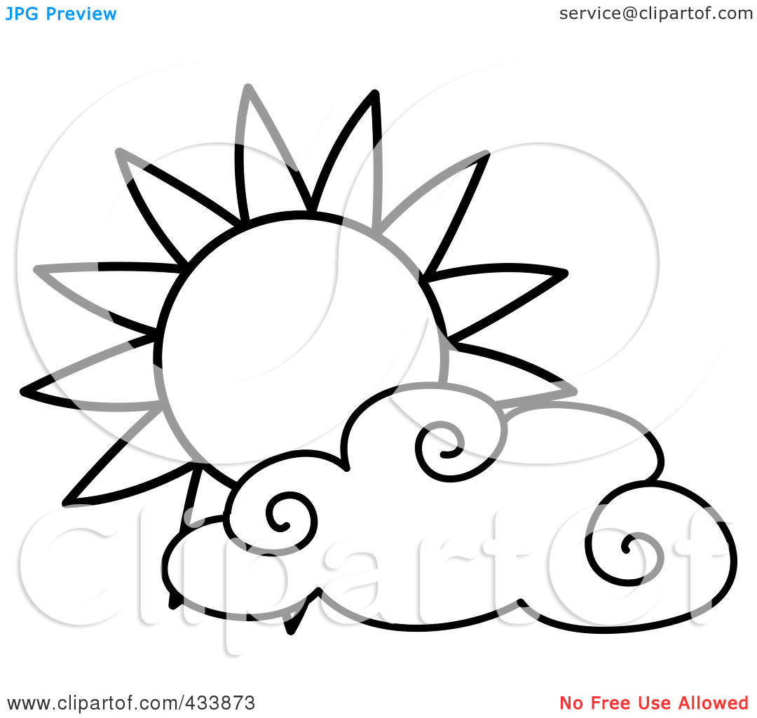 Sun And Clouds Clipart Black And White