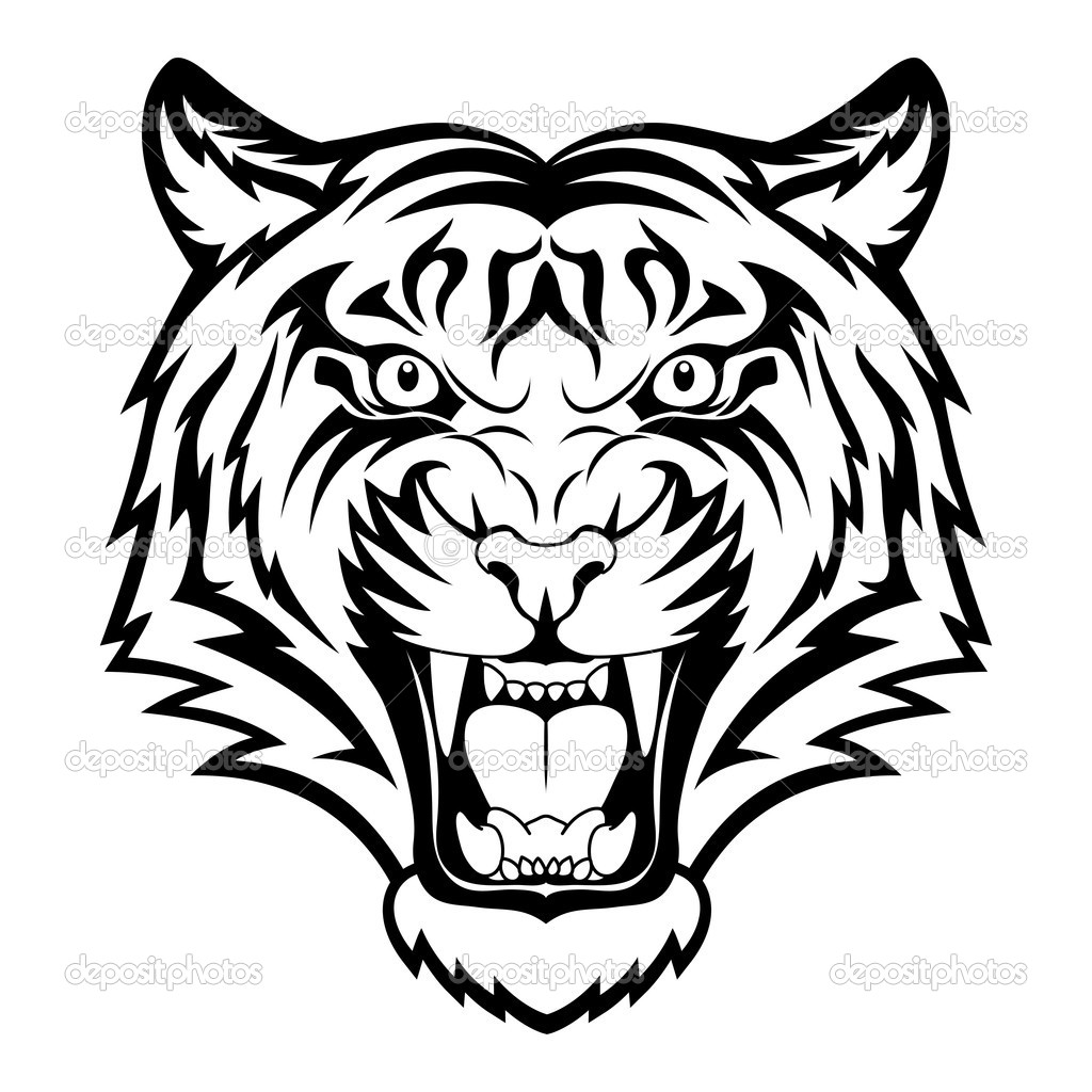 Tiger Head Clip Art Black And White Clipart Panda