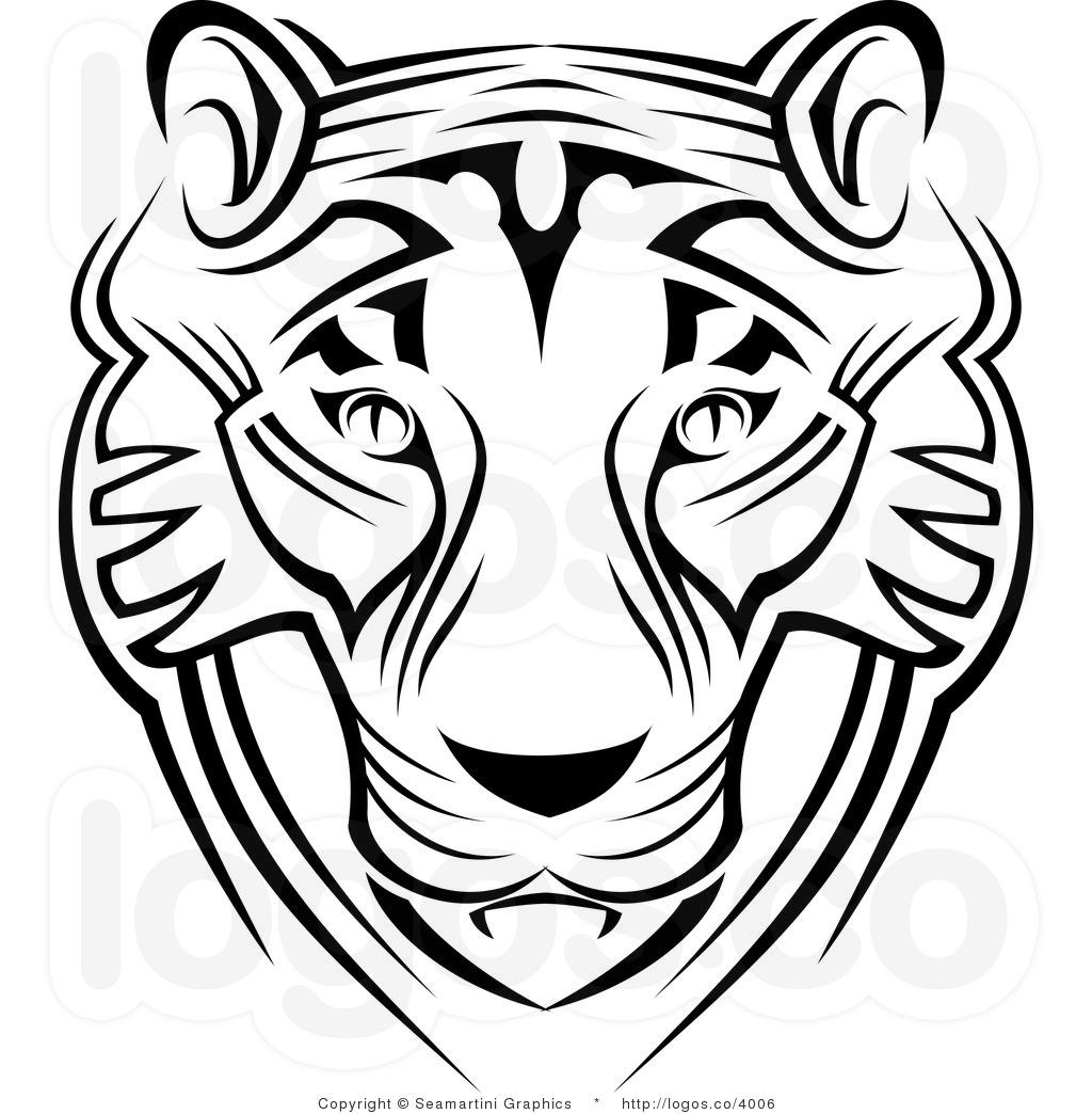 Tiger Face Clip Art Black And White Clipart Panda