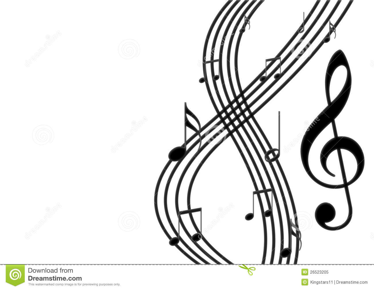 White Music Notes On Black Background
