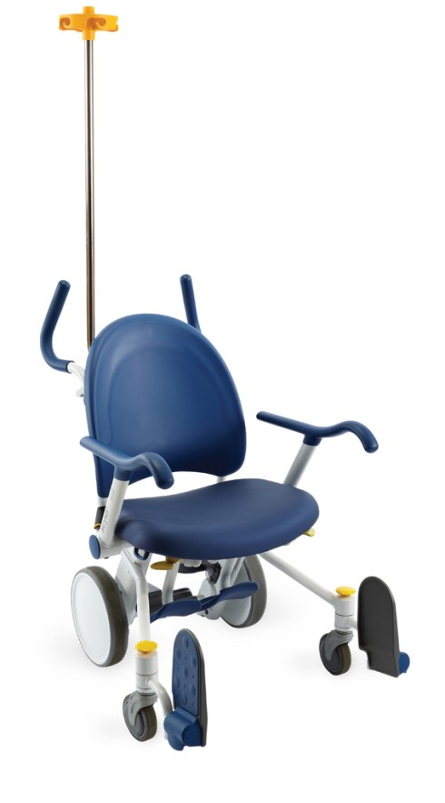 Blue, light grey, and yellow plastic wheelchair with a long vertical yellow hook in the rear, and blue arm rests and handles for the person pushing the chair. The wheelchair has remarkably small light grey wheels and blue foot rests.
