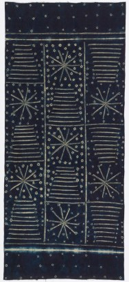 Indigo-dyed wrapper patterned with stitched resist. The field has a checkerboard layout of alternating design squares, one containing a pyramid-like shape of stacked lines, and the other a sunburst or snowflake pattern surrounded by dots. End borders have a simple dot pattern. The lines are created by overcast stitching, the dots by simple tie-dye.